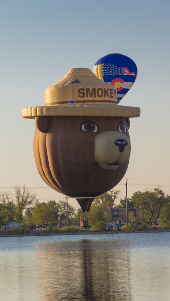 36th Annual Classic Hot Air Balloon Festival in Colorado Springs ~ Labor Day Weekend 2012 ~ Couldn't have this without Smokey the Bear.