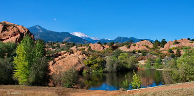 Panoramic view looking across Bock Lake toward Pikes Peak with a dusting of the first snow for the season.